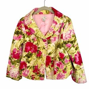 Women's Anthropologie Odille Cropped Floral Blazer